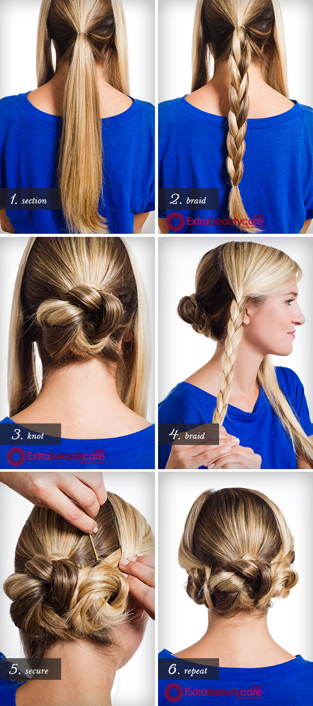 Triple Braided Bun Hairstyle