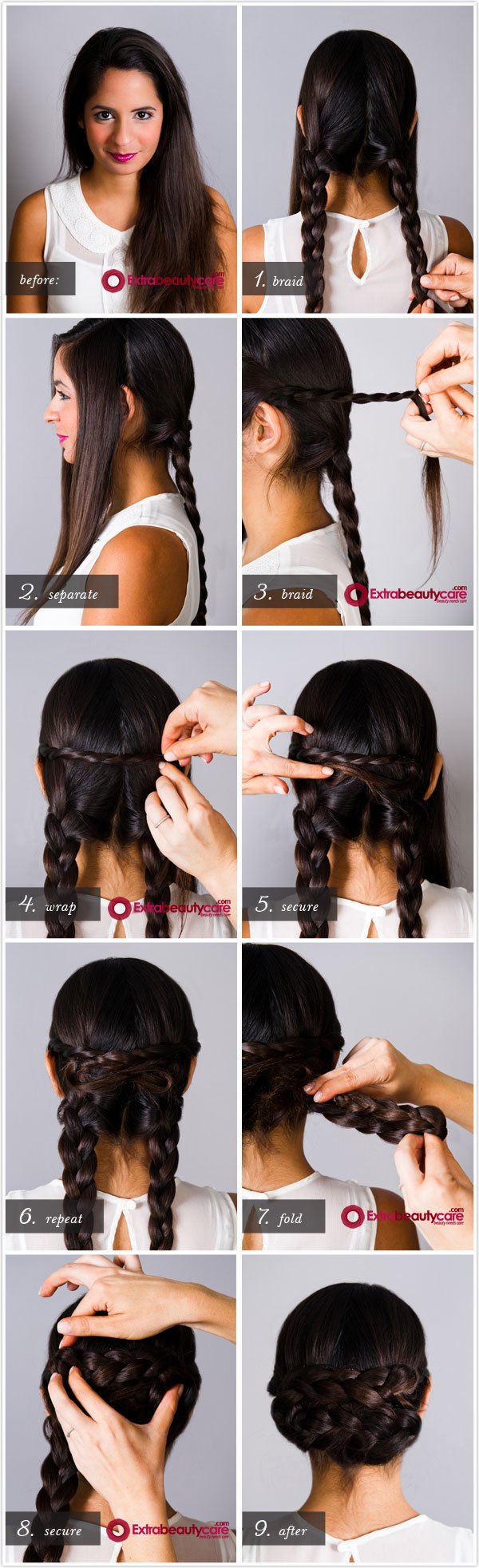Simple Braided Chignon Hairstyle